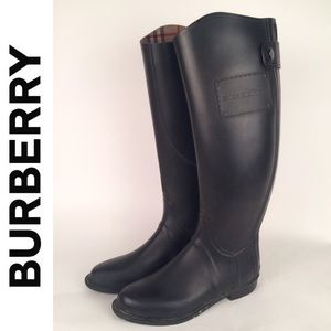 Burberry Black Rubber Rain Boots Sz 38